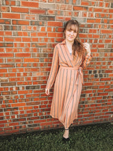 Load image into Gallery viewer, Peach Striped Dress- Lovelies