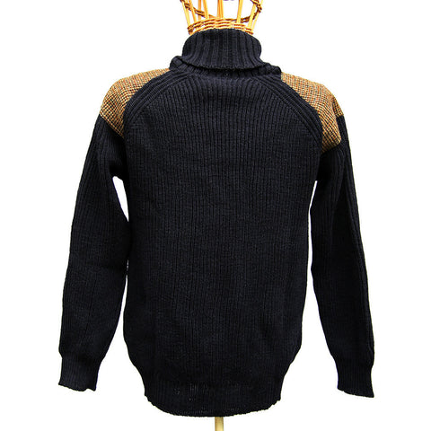 Harris Tweed Patch Jumper with Shawl Collar