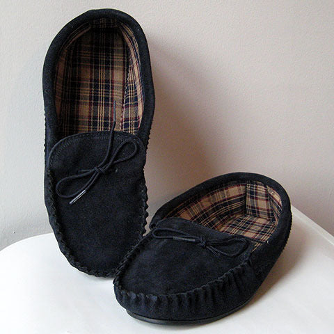 Fabric lined suede moccasins with sole