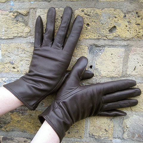 Ladies plain leather gloves