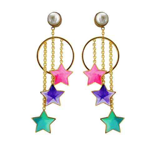 Pearls and stars danglers
