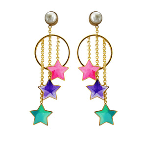 Pearls And Stars Danglers - Earrings