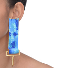 Load image into Gallery viewer, Blue paint roller earrings
