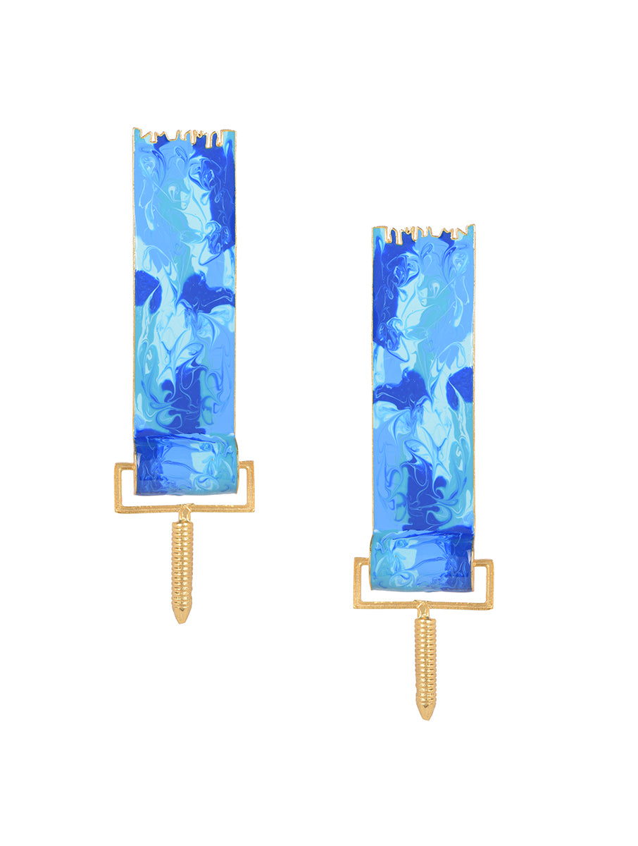 Blue paint roller earrings