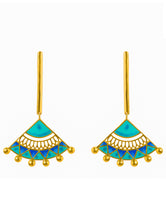 Load image into Gallery viewer, Blue Madhubani Earrings
