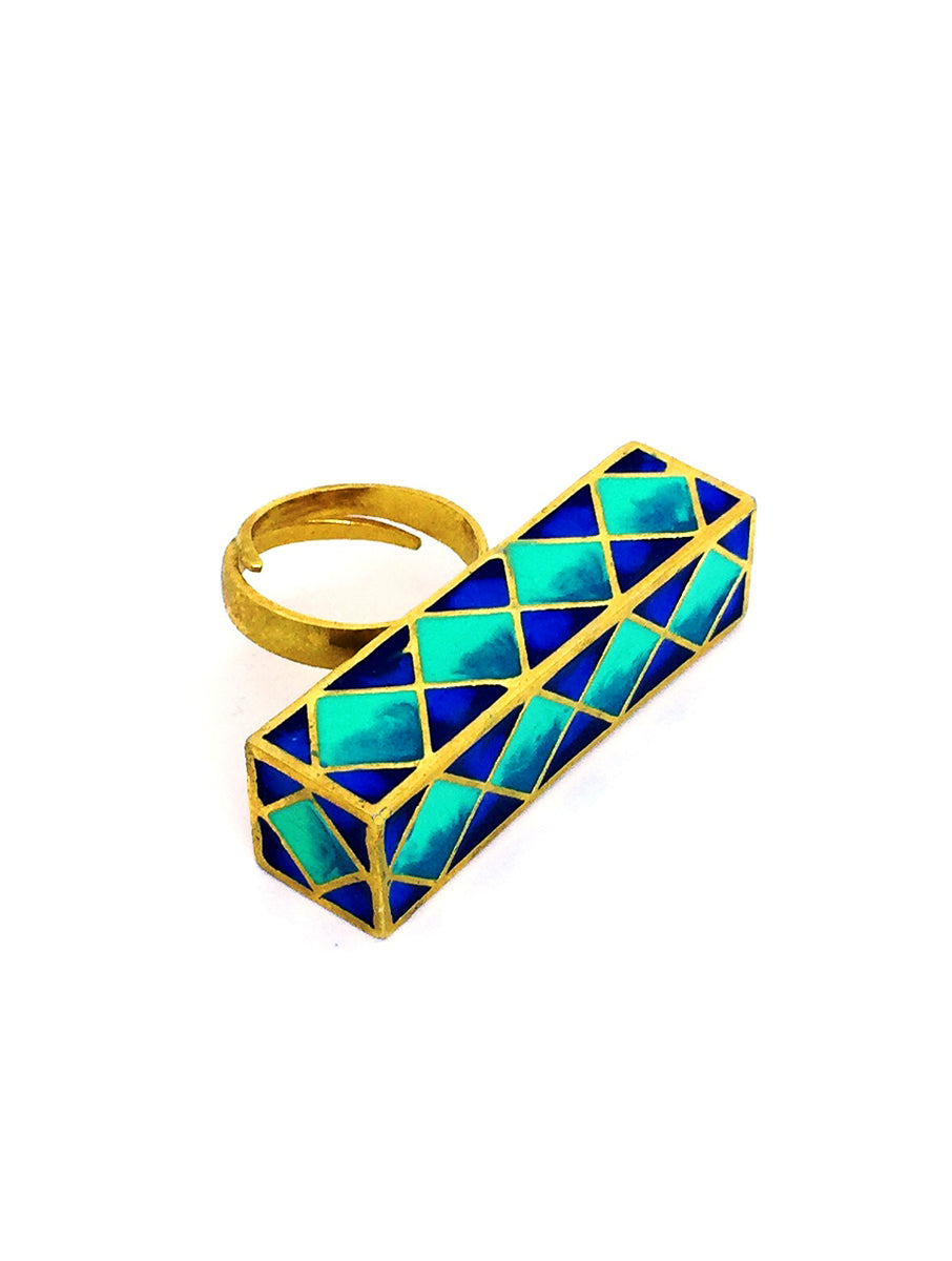 Rectangular Madhubani Ring