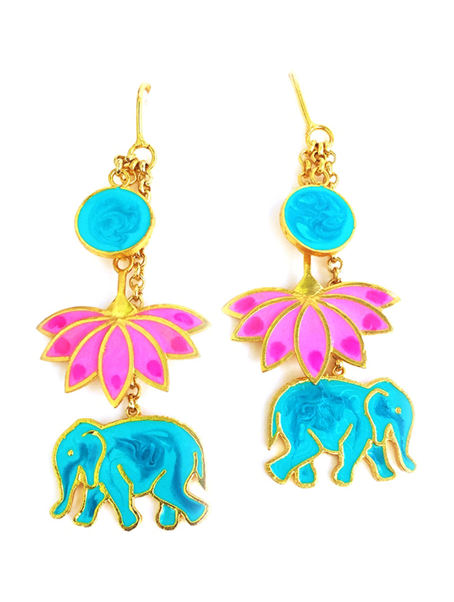 Elephant lotus earrings