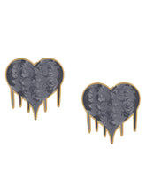 Load image into Gallery viewer, Hearts full of love earrings- grey