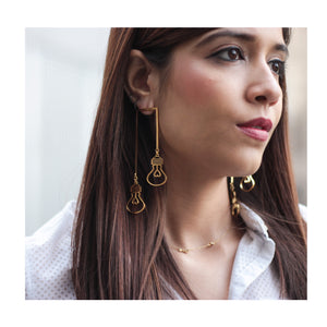 GOLD LAMP POST EARRINGS