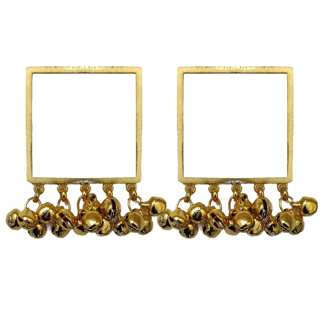 Square ghunghroo earrings