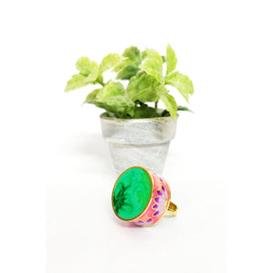 Statement Lotus Ring - Green