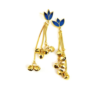 Dark blue lotus ghunghroo earrings