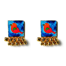 Load image into Gallery viewer, Blue Birdy Ghunghroo Earrings