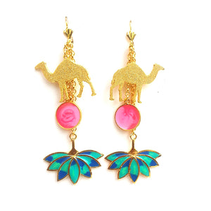 Camel charm earrings