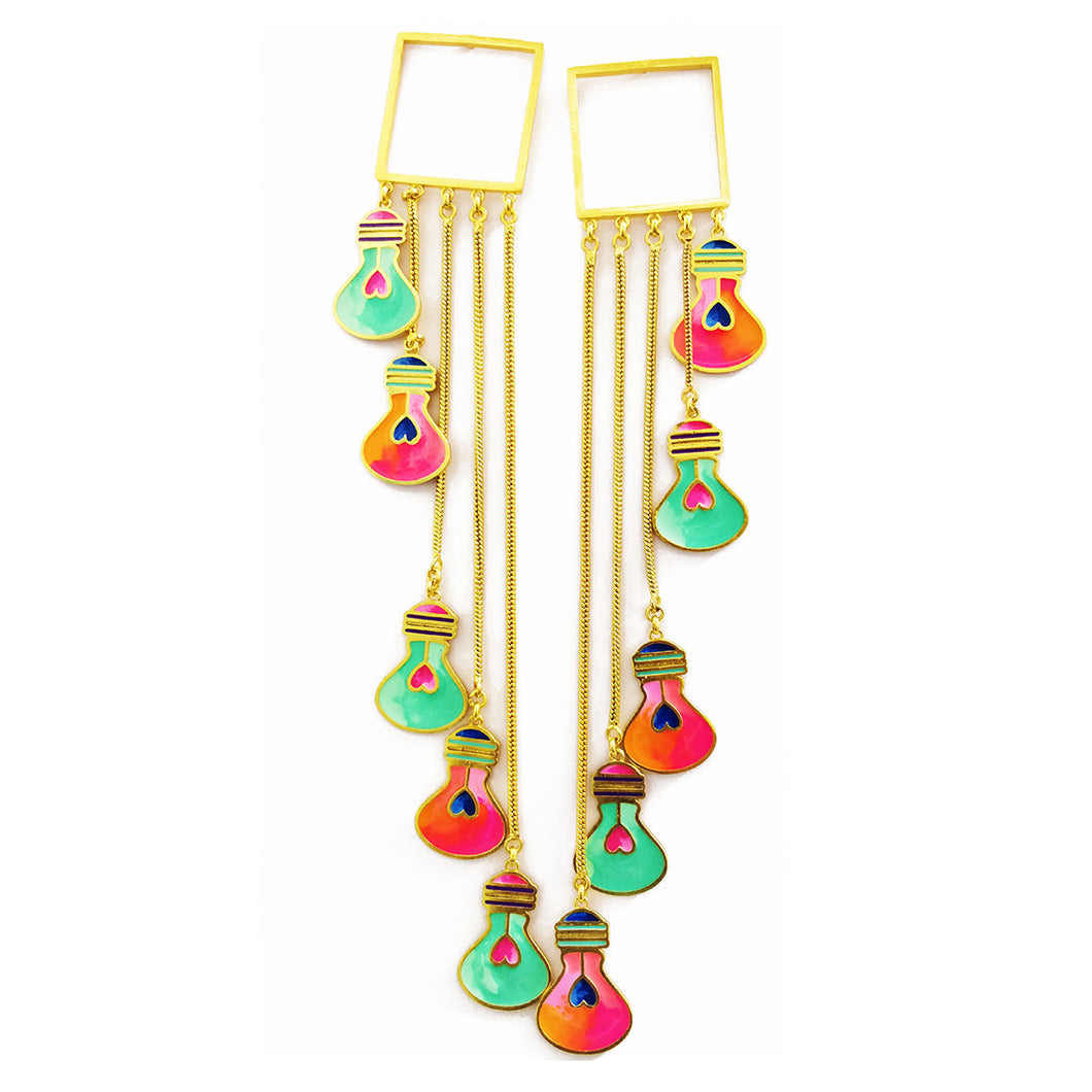 Colourful Bulb Danglers - Earrings