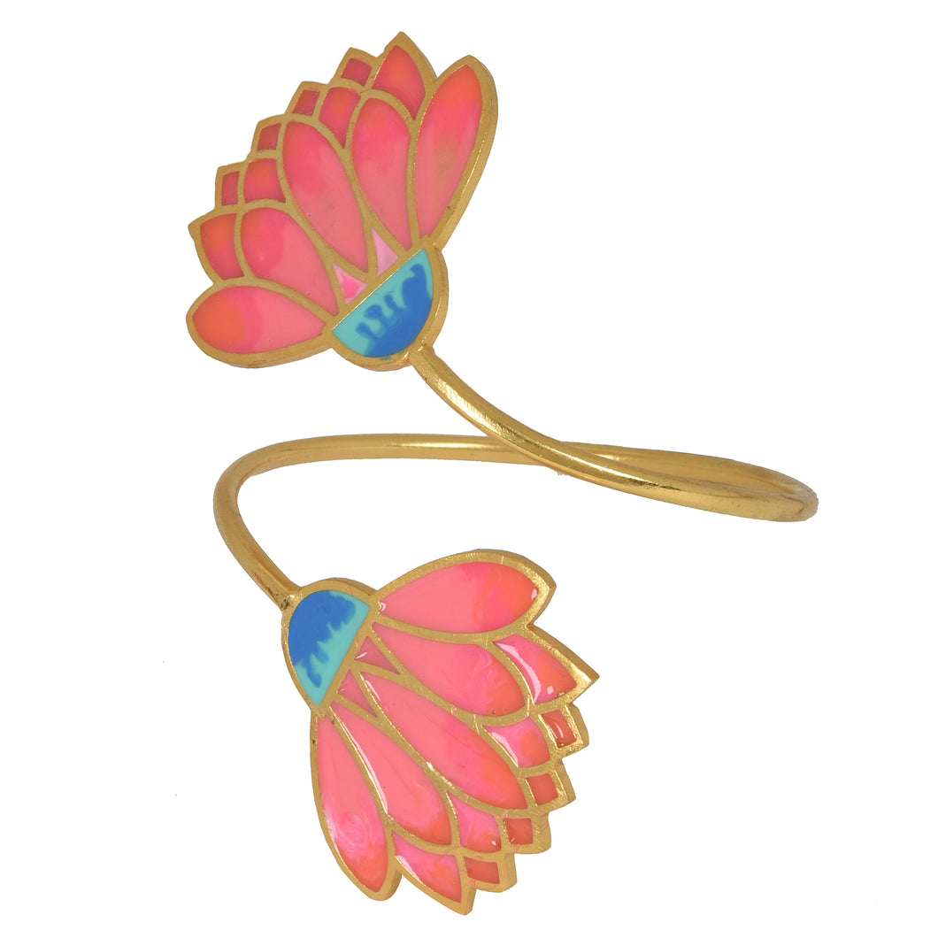 Floral Bloom Cuff Pink Peach