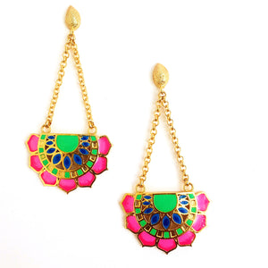Jaipur Love Pink Fan Earrings