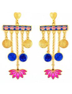 Lotus Love Blue Earrings