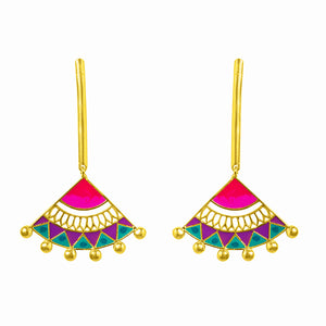 Pink Blue Madhubani Earrings