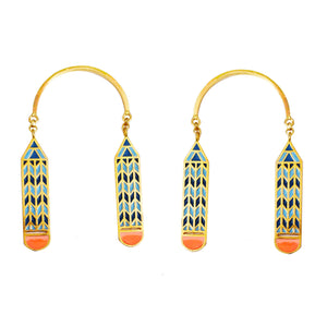 Blue pencil earrings