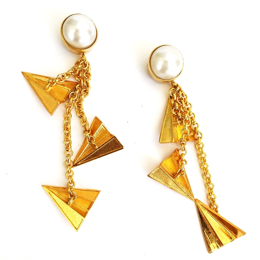 Pearl And Paper Plane Earrings