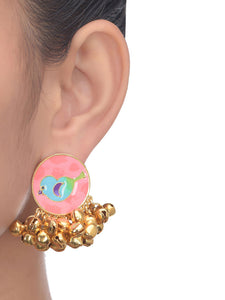 Peach Birdy Earrings