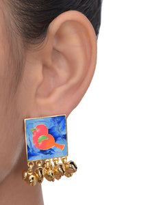 Blue Birdy Ghunghroo Earrings