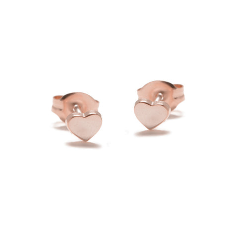 Baby Heart Studs - Rose Gold - Bing Bang Jewelry NYC