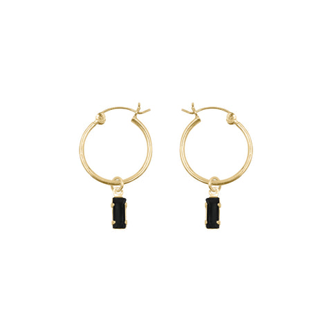 Tiny Baguette Charm Hoops - Bing Bang Jewelry NYC