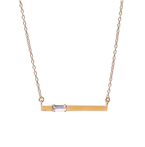 Baguette Bar Necklace - Bing Bang Jewelry NYC