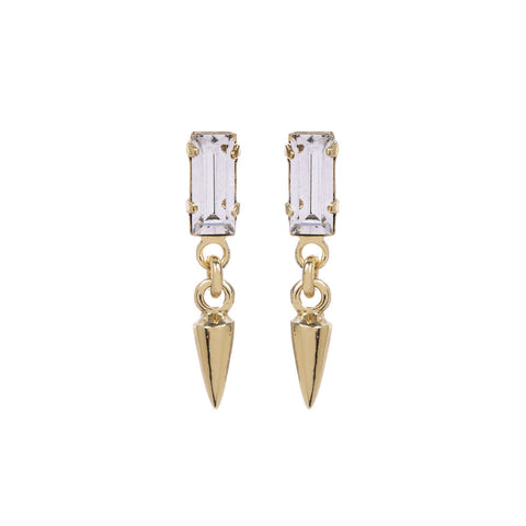 Baguette Bullet Drop Earrings - Bing Bang Jewelry NYC