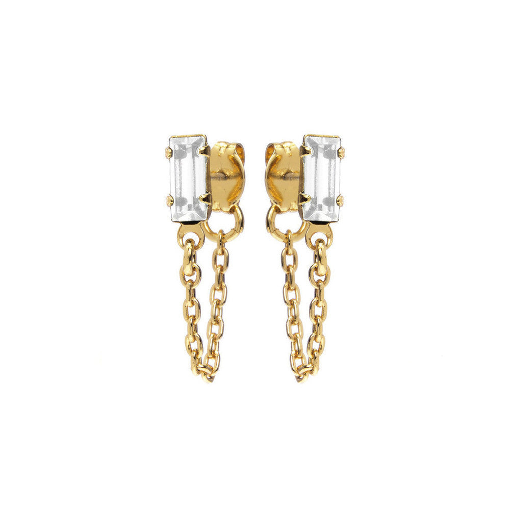 Baguette Continuous Earrings - Clear Crystal - Bing Bang NYC