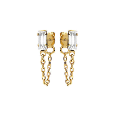 Baguette Continuous Earrings - Clear Crystal - Bing Bang Jewelry NYC