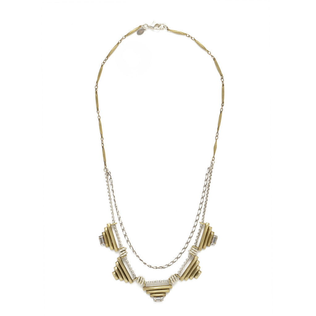 Five Sacred Pyramids Necklace - Brass - SALE - Bing Bang NYC - 2