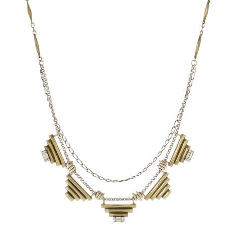 Five Sacred Pyramids Necklace - Brass - SALE - Bing Bang NYC - 1