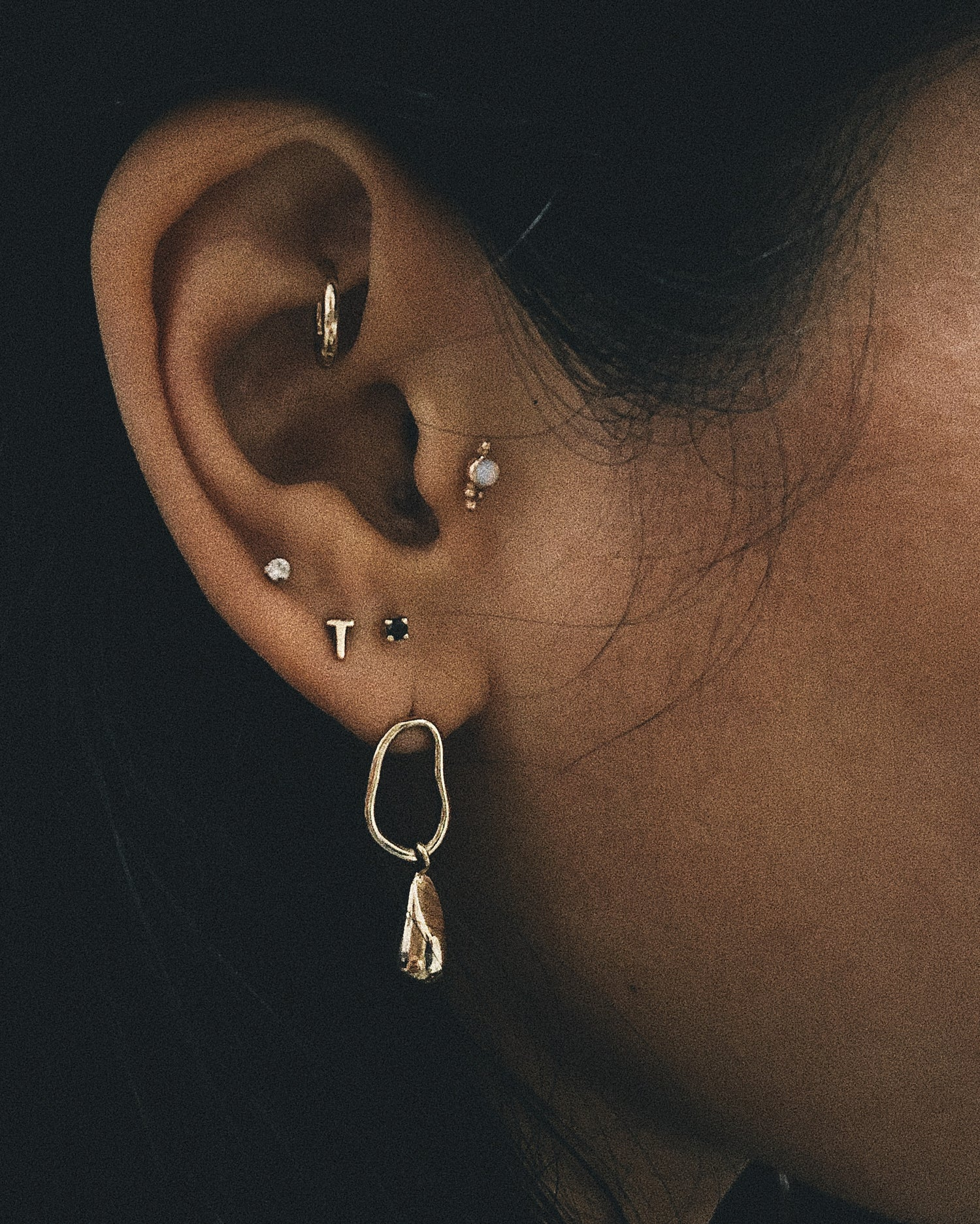 ✨14k Tiny Initial Studs - Bing Bang NYC