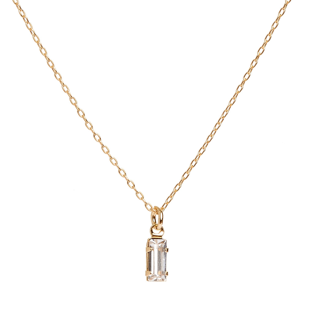 Tiny Baguette Necklace - Clear Crystal - Bing Bang NYC - 6