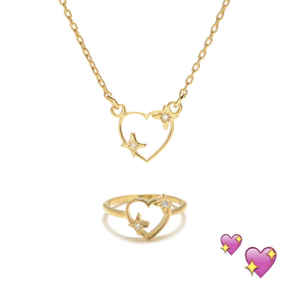 Sparkle Heart Set (Necklace & Ring) - Diamond Accents - Bing Bang NYC - 7