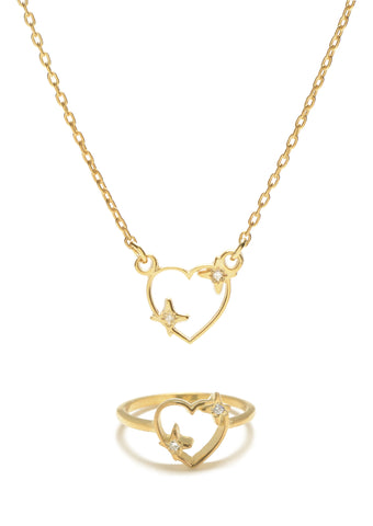 Sparkle Heart Set (Necklace & Ring) - Diamond Accents - Bing Bang NYC - 1
