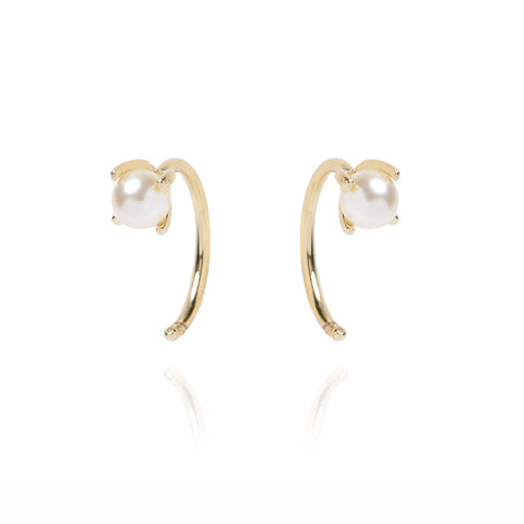 Tiny Pearl Hugger Hoops - Bing Bang Jewelry NYC