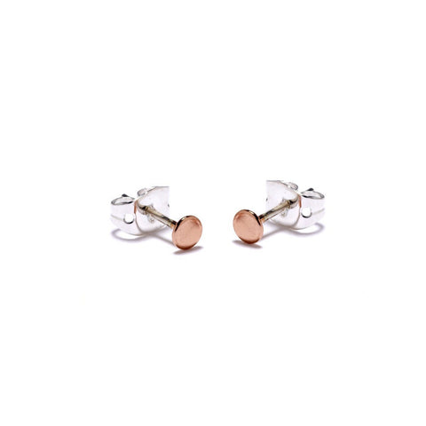 Tiny Circle Studs-Rose Gold - Bing Bang Jewelry NYC