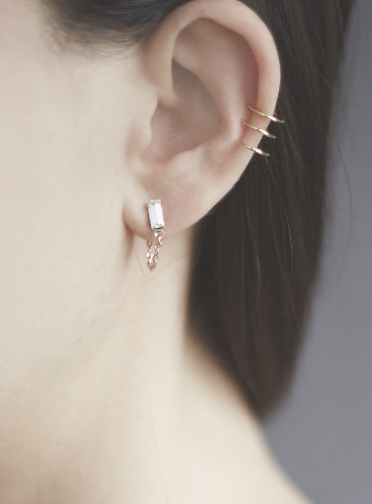 Baguette Continuous Earrings - Clear Crystal - Bing Bang NYC - 2
