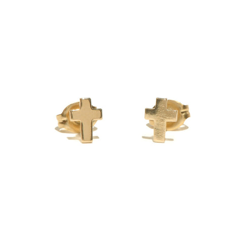 Tiny Cross Studs - Bing Bang Jewelry NYC