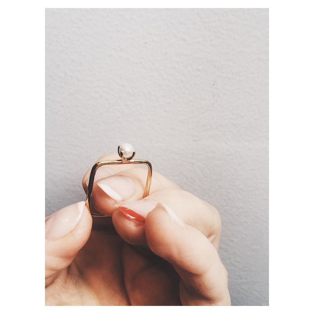 Square Tiny Pearl Ring - Bing Bang NYC - 6