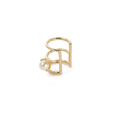 Caged Pearl Ear Cuff - Bing Bang NYC - 1