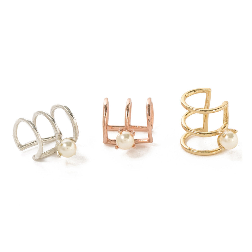 Caged Pearl Ear Cuff - Bing Bang NYC - 2