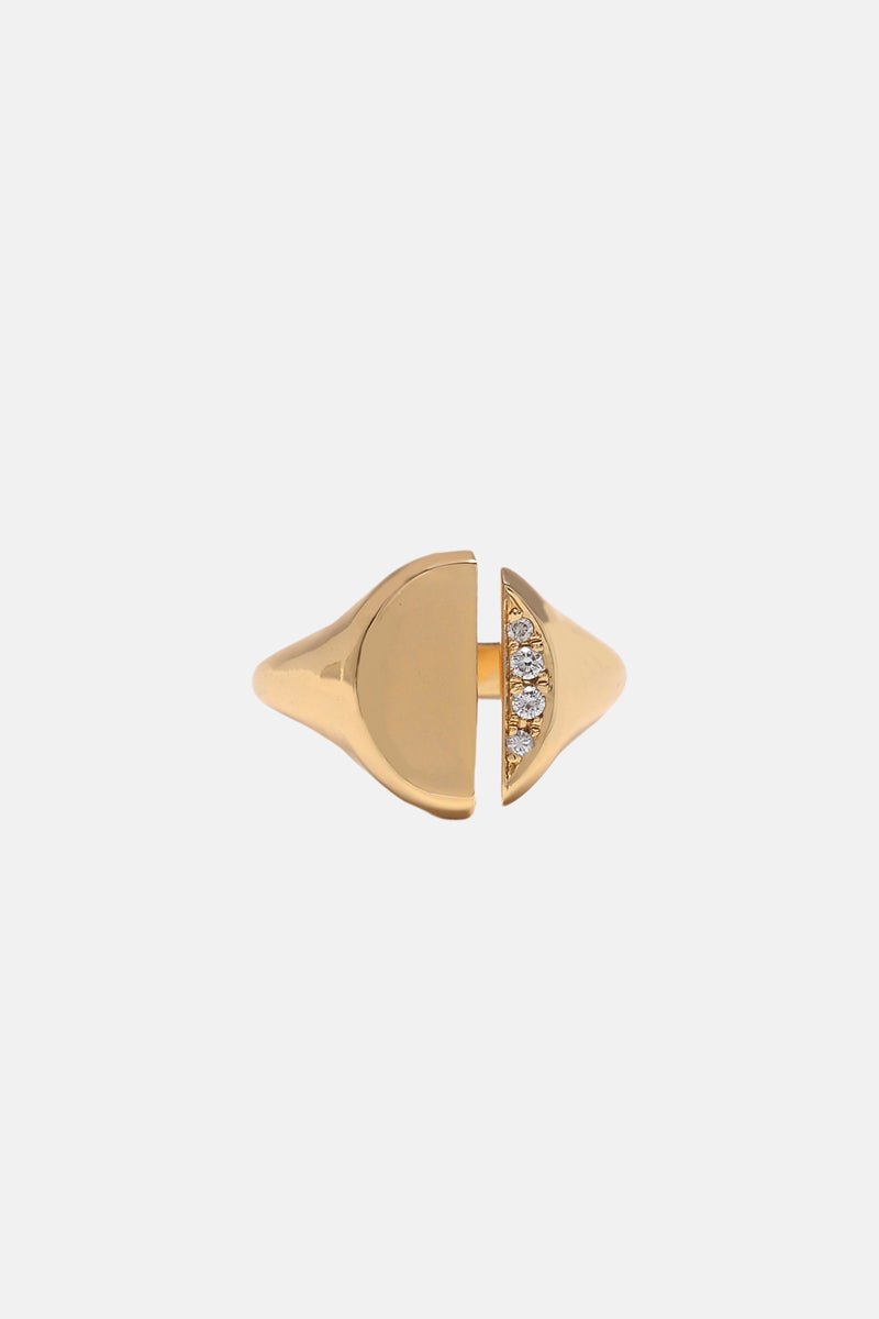 Diamond Demi-Pavé Divided Signet Ring - Bing Bang Jewelry NYC