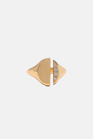 Diamond Demi-Pavé Divided Signet Ring - Bing Bang NYC