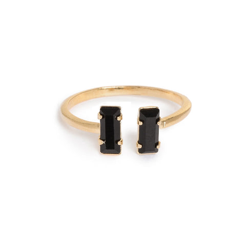 Double Baguette Ring - Jet Black Crystal - Bing Bang Jewelry NYC
