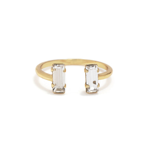 Double Baguette Ring - Clear Crystal - Bing Bang Jewelry NYC